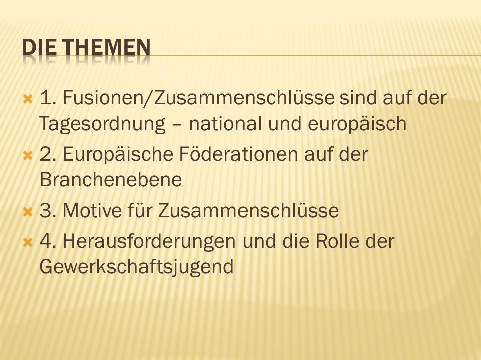 1. Fusionen/Zusammenschlüsse sind auf der Tagesordnung – national und europäisch 2. Europäische Föderationen auf der Branchenebene 3. Motive für Zusam