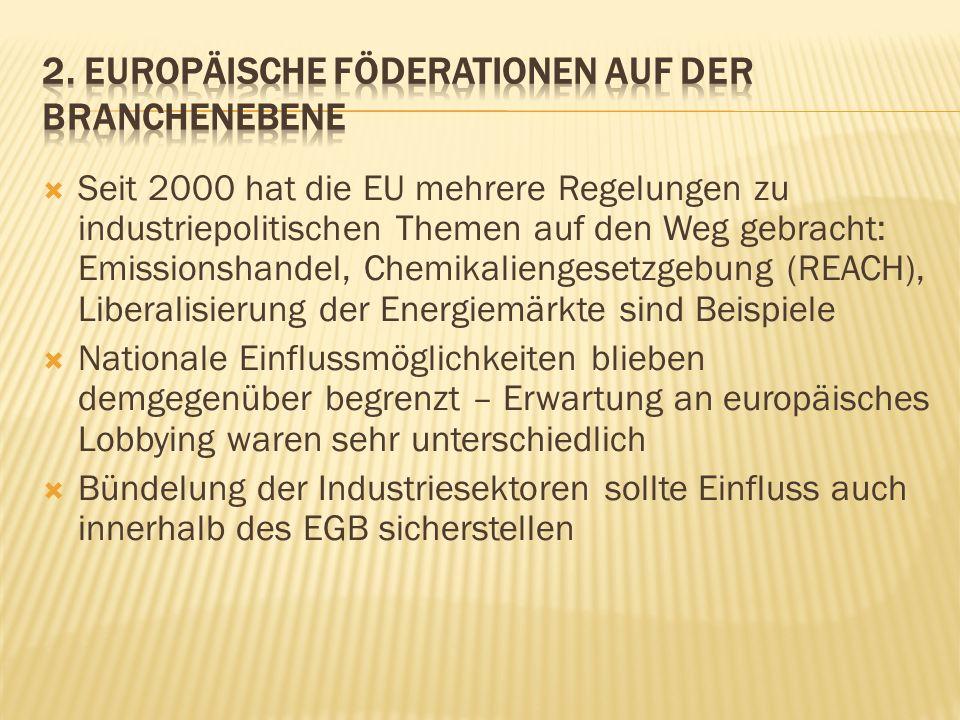 Seit 2000 hat die EU mehrere Regelungen zu industriepolitischen Themen auf den Weg gebracht: Emissionshandel, Chemikaliengesetzgebung (REACH), Liberal