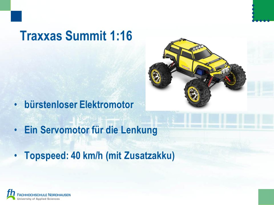 Traxxas Summit 1:16 bürstenloser Elektromotor Ein Servomotor für die Lenkung Topspeed: 40 km/h (mit Zusatzakku)