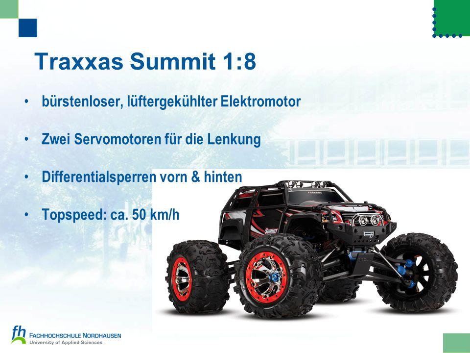 Traxxas Summit 1:8 bürstenloser, lüftergekühlter Elektromotor Zwei Servomotoren für die Lenkung Differentialsperren vorn & hinten Topspeed: ca. 50 km/