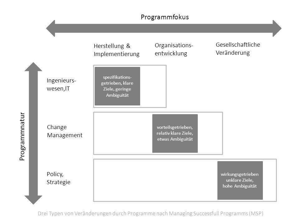 Programmfokus Programmnatur Ingenieurs- wesen,IT Change Management Policy, Strategie Organisations- entwicklung Herstellung & Implementierung Gesellsc