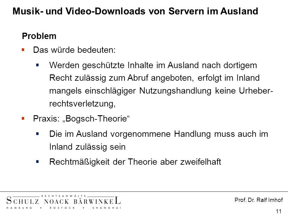 Prof. Dr. Ralf Imhof 11 Problem Das würde bedeuten: Werden geschützte Inhalte im Ausland nach dortigem Recht zulässig zum Abruf angeboten, erfolgt im