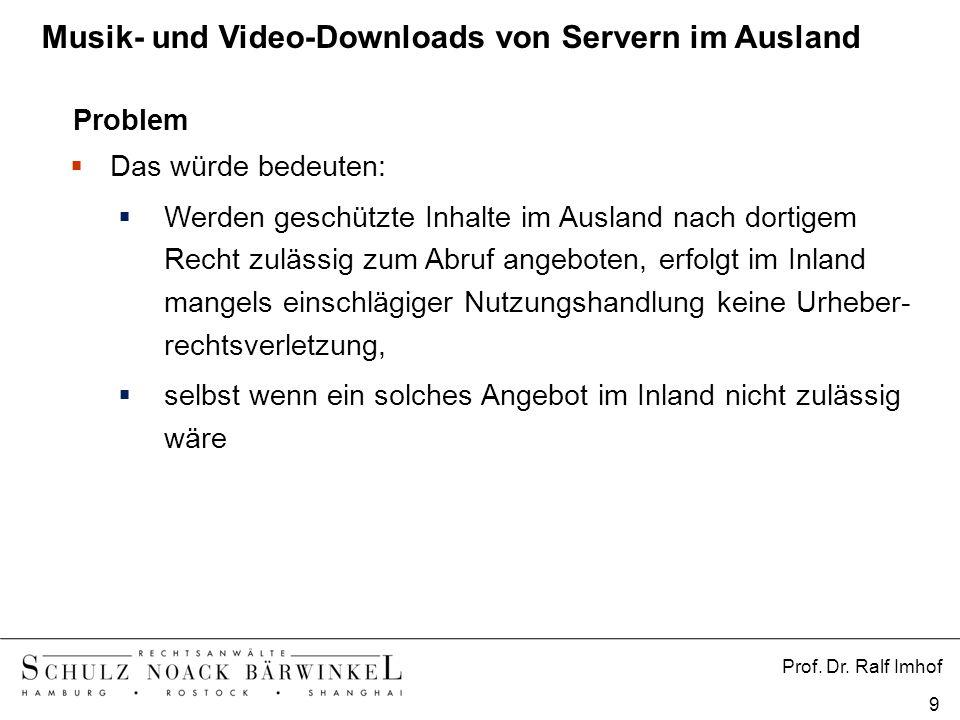Prof. Dr. Ralf Imhof 9 Problem Das würde bedeuten: Werden geschützte Inhalte im Ausland nach dortigem Recht zulässig zum Abruf angeboten, erfolgt im I