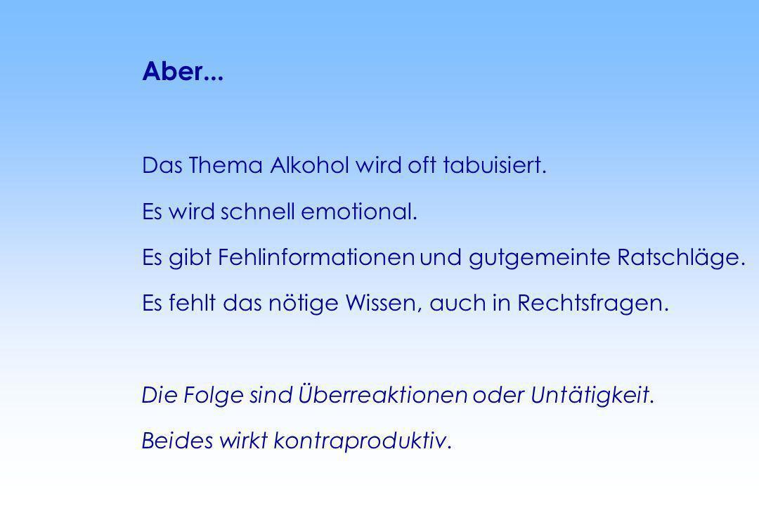 Aber... Das Thema Alkohol wird oft tabuisiert. Es wird schnell emotional. Es gibt Fehlinformationen und gutgemeinte Ratschläge. Es fehlt das nötige Wi