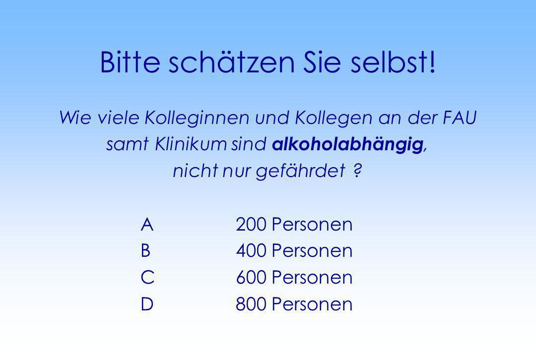 Bitte schätzen Sie selbst! Wie viele Kolleginnen und Kollegen an der FAU samt Klinikum sind alkoholabhängig, nicht nur gefährdet ? A200 Personen B400