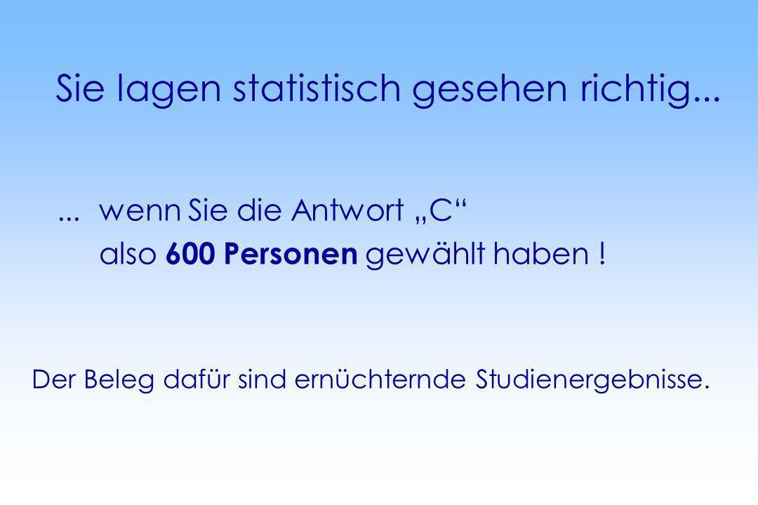 Sie lagen statistisch gesehen richtig......wenn Sie die Antwort C also 600 Personen gewählt haben ! Der Beleg dafür sind ernüchternde Studienergebniss