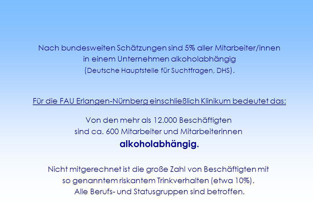 Nach bundesweiten Schätzungen sind 5% aller Mitarbeiter/innen in einem Unternehmen alkoholabhängig ( Deutsche Hauptstelle für Suchtfragen, DHS ). Für
