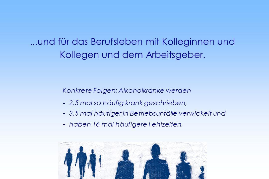 ...und für das Berufsleben mit Kolleginnen und Kollegen und dem Arbeitsgeber. Konkrete Folgen: Alkoholkranke werden - 2,5 mal so häufig krank geschrie