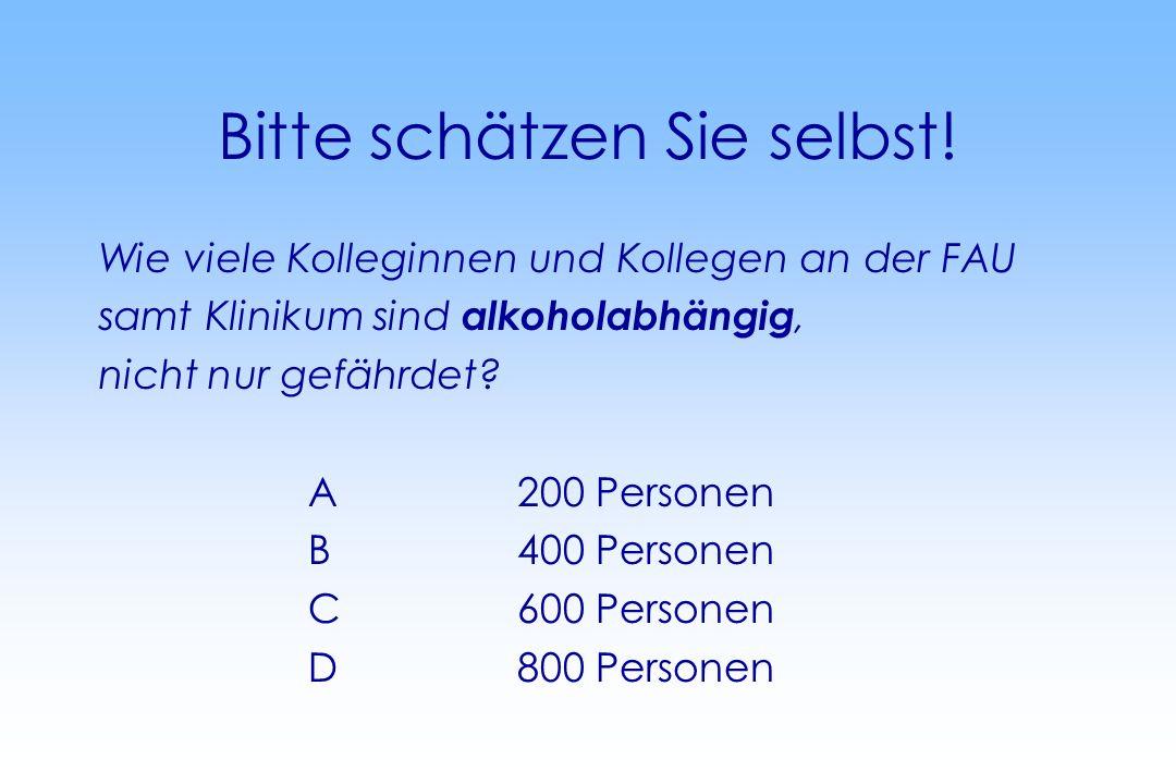 Bitte schätzen Sie selbst! Wie viele Kolleginnen und Kollegen an der FAU samt Klinikum sind alkoholabhängig, nicht nur gefährdet? A200 Personen B400 P