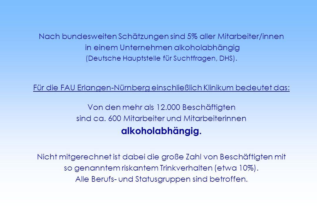 Nach bundesweiten Schätzungen sind 5% aller Mitarbeiter/innen in einem Unternehmen alkoholabhängig (Deutsche Hauptstelle für Suchtfragen, DHS). Für di