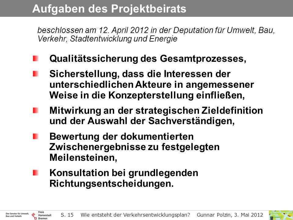 S. 15 Wie entsteht der Verkehrsentwicklungsplan? Gunnar Polzin, 3. Mai 2012 beschlossen am 12. April 2012 in der Deputation für Umwelt, Bau, Verkehr,