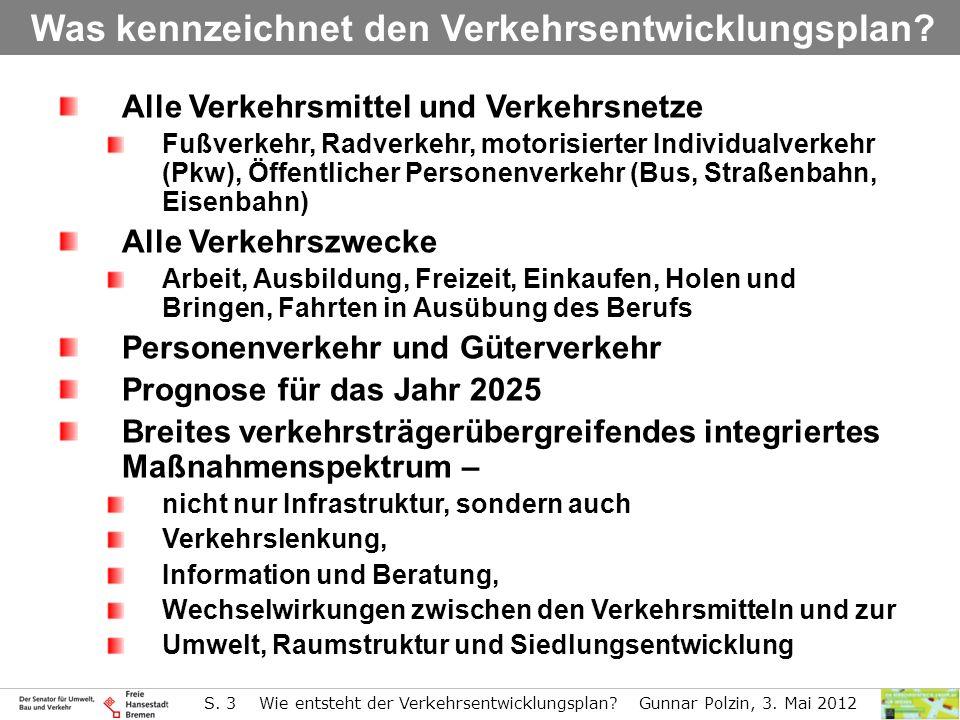 S. 3 Wie entsteht der Verkehrsentwicklungsplan? Gunnar Polzin, 3. Mai 2012 Alle Verkehrsmittel und Verkehrsnetze Fußverkehr, Radverkehr, motorisierter