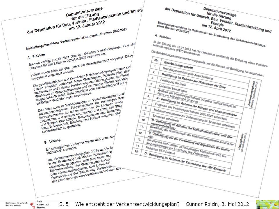 S. 5 Wie entsteht der Verkehrsentwicklungsplan? Gunnar Polzin, 3. Mai 2012