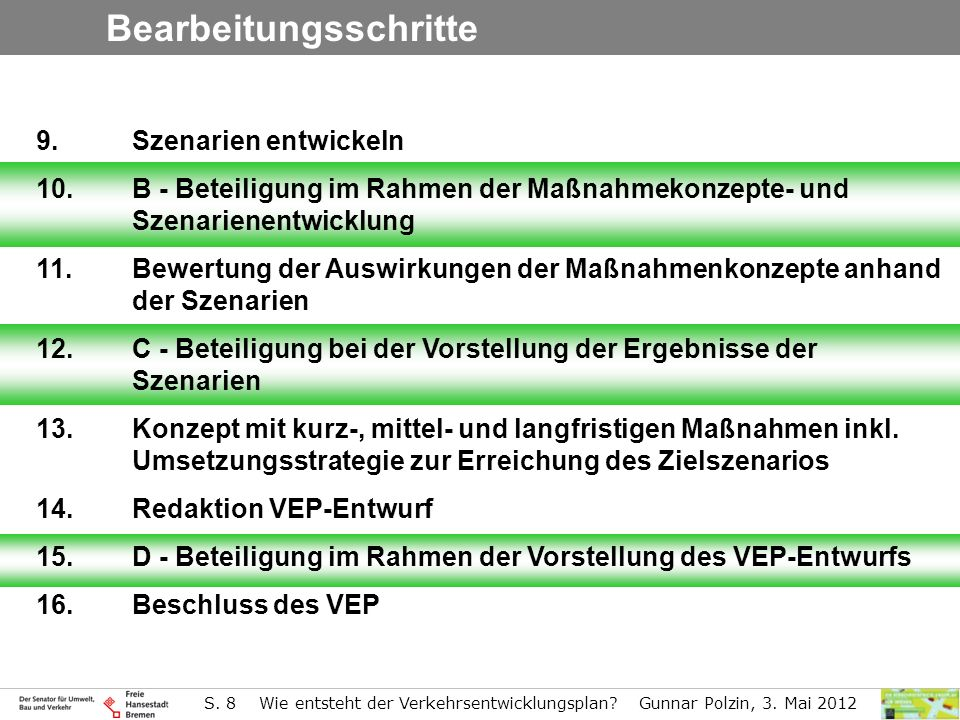 S.8 Wie entsteht der Verkehrsentwicklungsplan. Gunnar Polzin, 3.