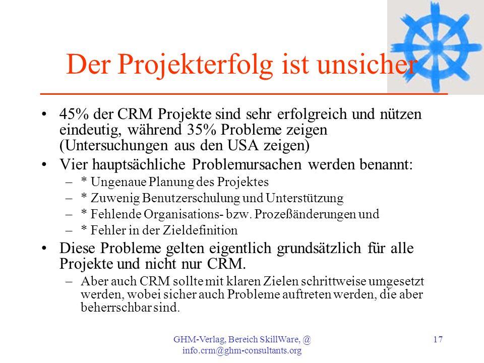 GHM-Verlag, Bereich SkillWare, @ info.crm@ghm-consultants.org 17 Der Projekterfolg ist unsicher 45% der CRM Projekte sind sehr erfolgreich und nützen