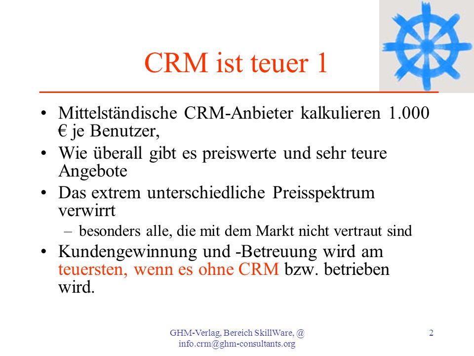 GHM-Verlag, Bereich SkillWare, @ info.crm@ghm-consultants.org 23 CRM Regel 6: Mit CRM von Chancen zu Umsatz CRM optimiert die Vertriebsarbeit und die Umsatzchancen mehrfach durch –* Integrierte Wiedervorlage für verschobene Projekte –* konsequente Chancenverfolgung –* Konzentration auf chancenreiche Projekte für erhöhten Ertrag –* Informationen für Stärken-Schwächen-Analysen –* Pflegeaufwand wie für eine Kundenkarte, aber mit Mehrfachnutzen Wert: –1 Auftrag mehr pro Quartal oder 20.000.