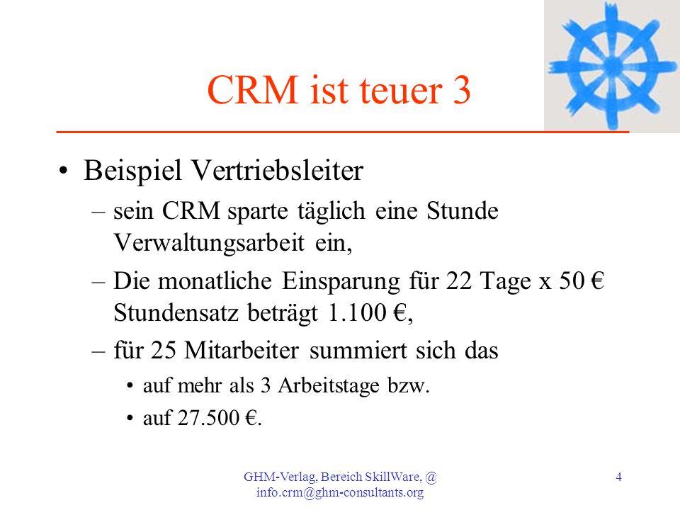 GHM-Verlag, Bereich SkillWare, @ info.crm@ghm-consultants.org 4 CRM ist teuer 3 Beispiel Vertriebsleiter –sein CRM sparte täglich eine Stunde Verwaltu