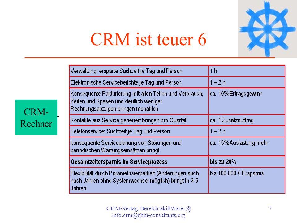 GHM-Verlag, Bereich SkillWare, @ info.crm@ghm-consultants.org 8 CRM ist unverständlich Die meisten CRM Lösungen wurden mittlerweile auf Benutzerfreundlichkeit hin optimiert und erschließen sich der Benutzung recht schnell; sicher gibt es auch unverständliche Lösungen.