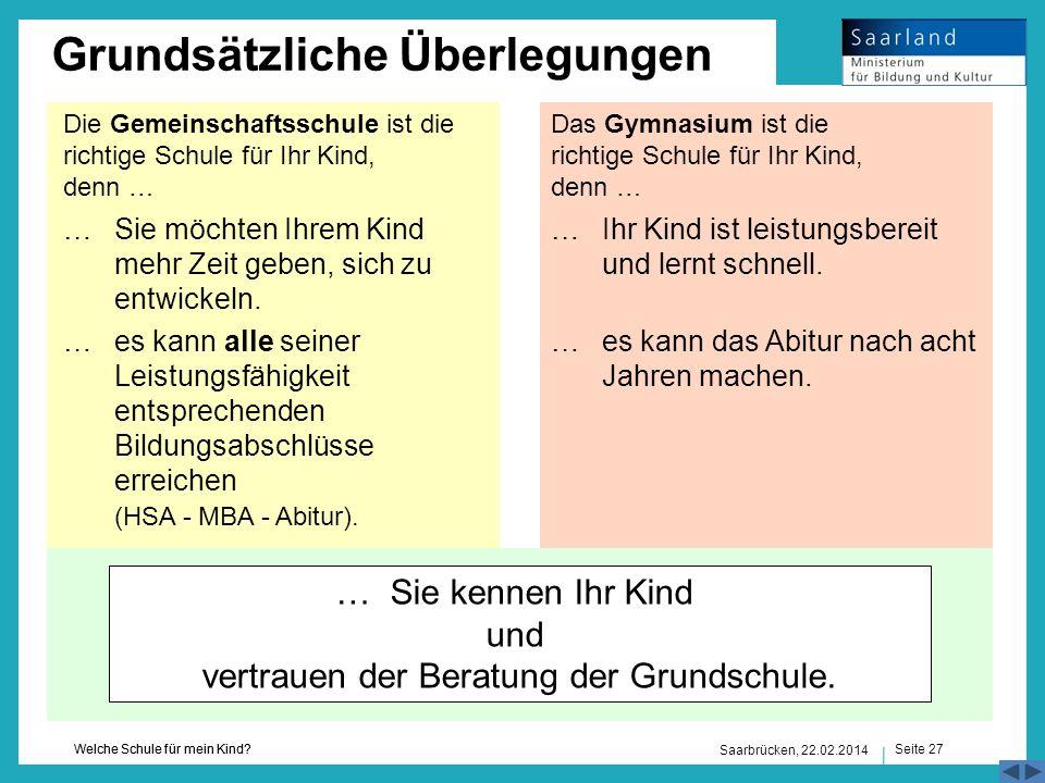 Seite 27 Welche Schule für mein Kind? Saarbrücken, 22.02.2014 Grundsätzliche Überlegungen Die Gemeinschaftsschule ist die richtige Schule für Ihr Kind