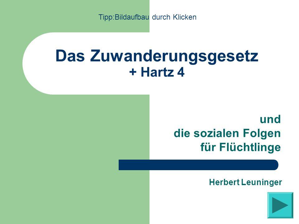 Das Zuwanderungsgesetz + Hartz 4 und die sozialen Folgen für Flüchtlinge Herbert Leuninger Tipp:Bildaufbau durch Klicken