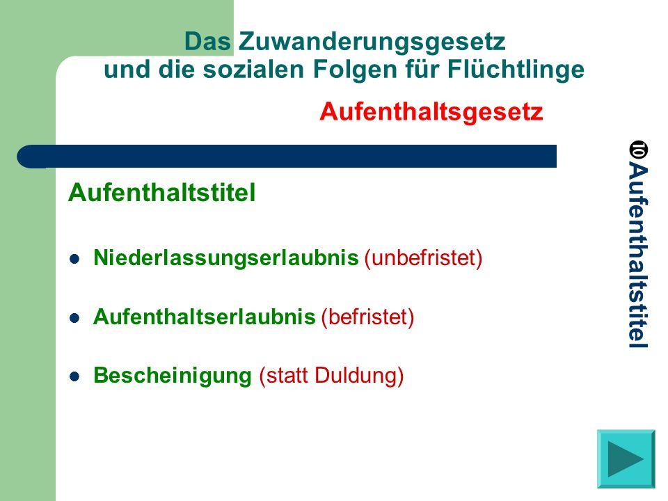 Das Zuwanderungsgesetz und die sozialen Folgen für Flüchtlinge Aufenthaltstitel Niederlassungserlaubnis (unbefristet) Aufenthaltserlaubnis (befristet)