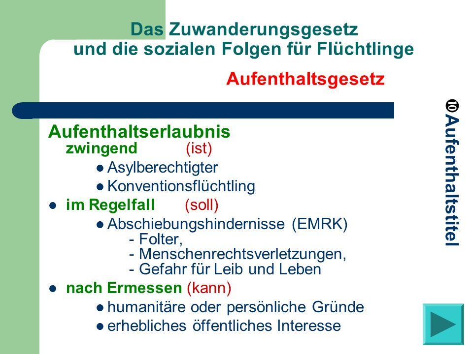 Das Zuwanderungsgesetz und die sozialen Folgen für Flüchtlinge Aufenthaltserlaubnis zwingend (ist) Asylberechtigter Konventionsflüchtling im Regelfall