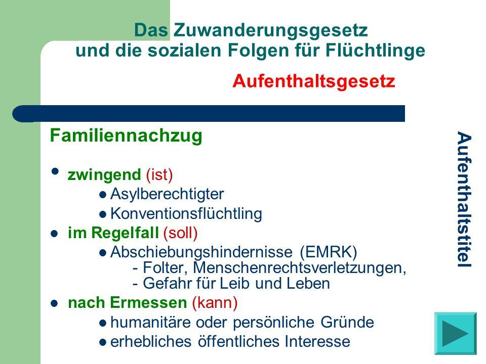 Das Zuwanderungsgesetz und die sozialen Folgen für Flüchtlinge Familiennachzug zwingend (ist) Asylberechtigter Konventionsflüchtling im Regelfall (sol