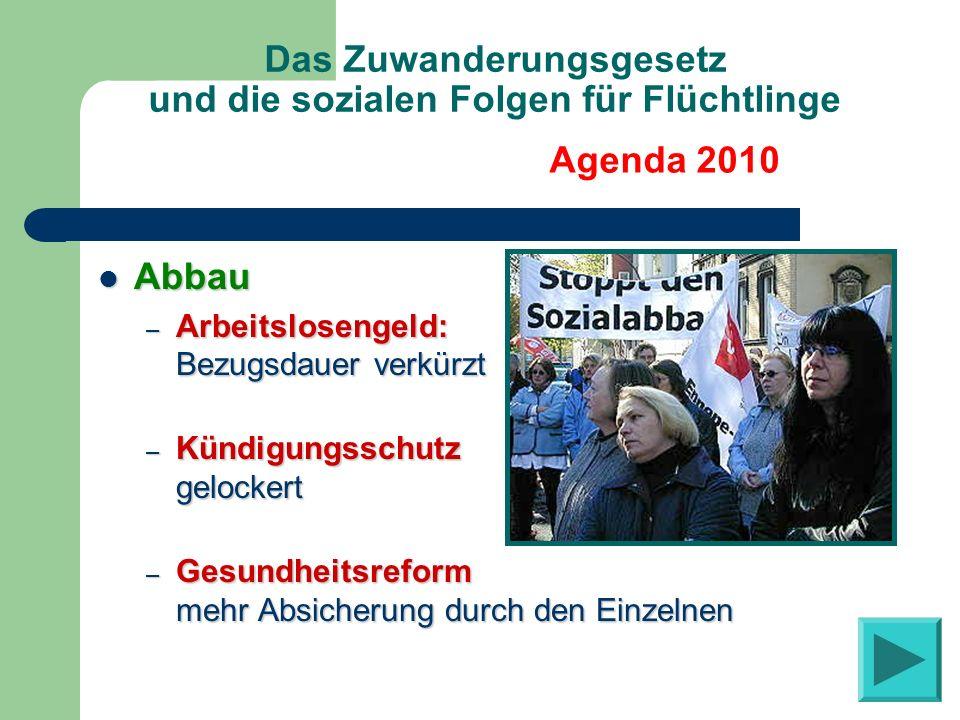 Das Zuwanderungsgesetz und die sozialen Folgen für Flüchtlinge Sparkurs Sparkurs – Finanziert durch die Benachteiligten – Flüchtlinge besonders betroffen: häufiger arbeitslos häufiger arbeitslos häufiger arm häufiger arm Agenda 2010