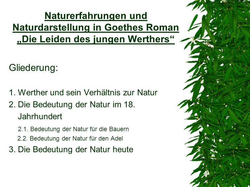Naturerfahrungen und Naturdarstellung in Goethes Roman Die Leiden des jungen Werthers Gliederung: 1. Werther und sein Verhältnis zur Natur 2. Die Bede