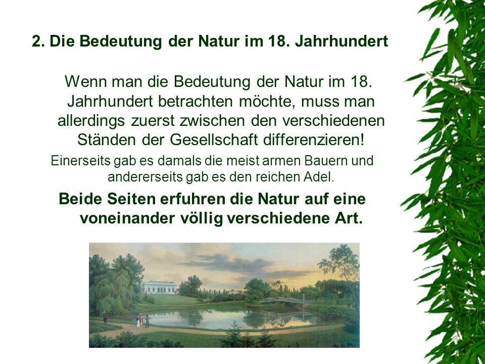 2. Die Bedeutung der Natur im 18. Jahrhundert Wenn man die Bedeutung der Natur im 18. Jahrhundert betrachten möchte, muss man allerdings zuerst zwisch