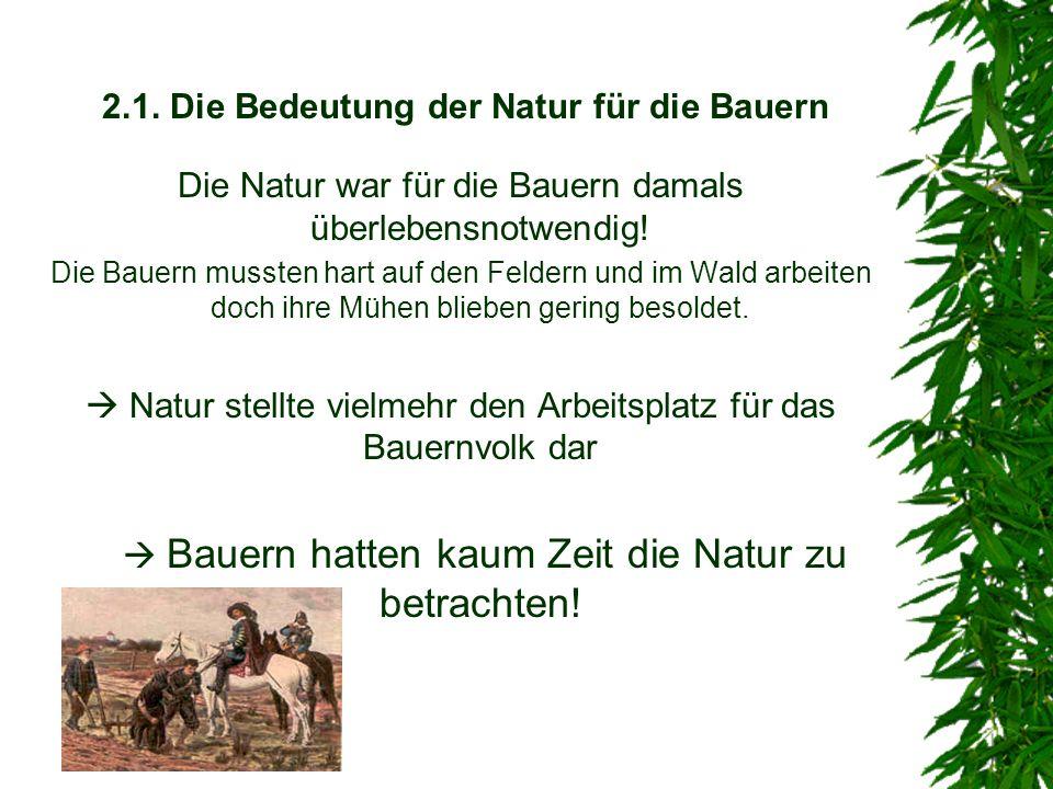 2.1. Die Bedeutung der Natur für die Bauern Die Natur war für die Bauern damals überlebensnotwendig! Die Bauern mussten hart auf den Feldern und im Wa