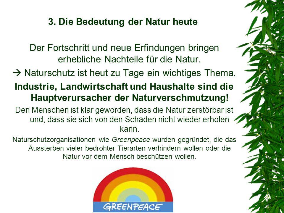 3. Die Bedeutung der Natur heute Der Fortschritt und neue Erfindungen bringen erhebliche Nachteile für die Natur. Naturschutz ist heut zu Tage ein wic