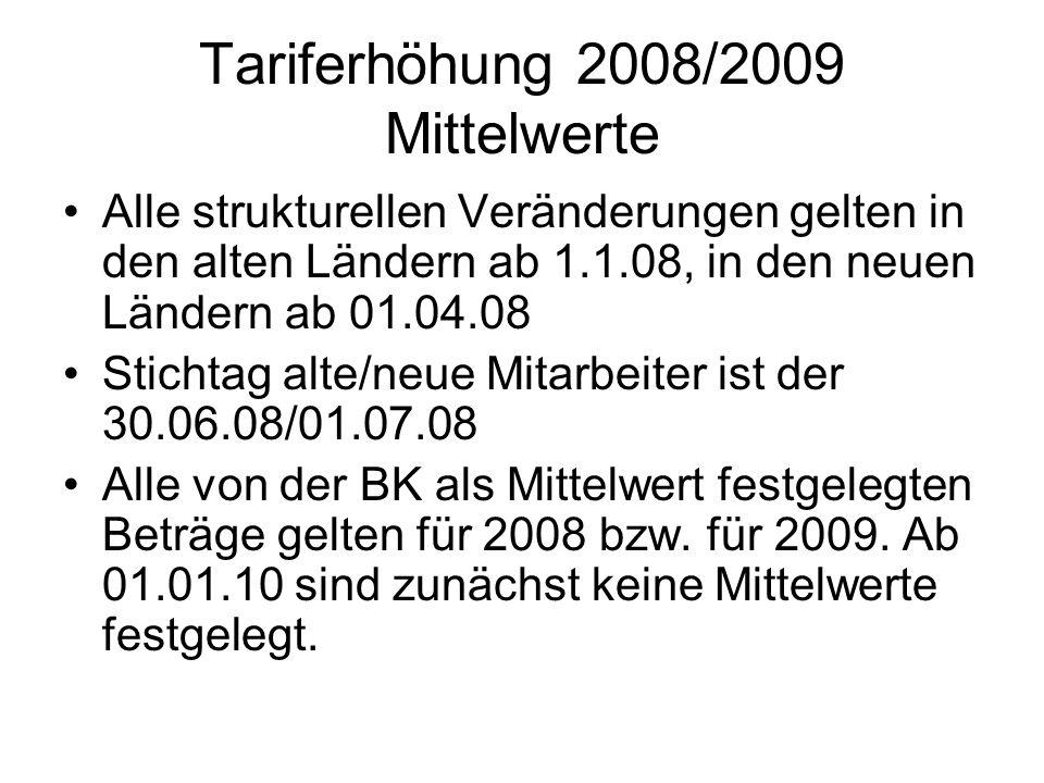 Tariferhöhung 2008/2009 Mittelwerte Alle strukturellen Veränderungen gelten in den alten Ländern ab 1.1.08, in den neuen Ländern ab 01.04.08 Stichtag alte/neue Mitarbeiter ist der 30.06.08/01.07.08 Alle von der BK als Mittelwert festgelegten Beträge gelten für 2008 bzw.