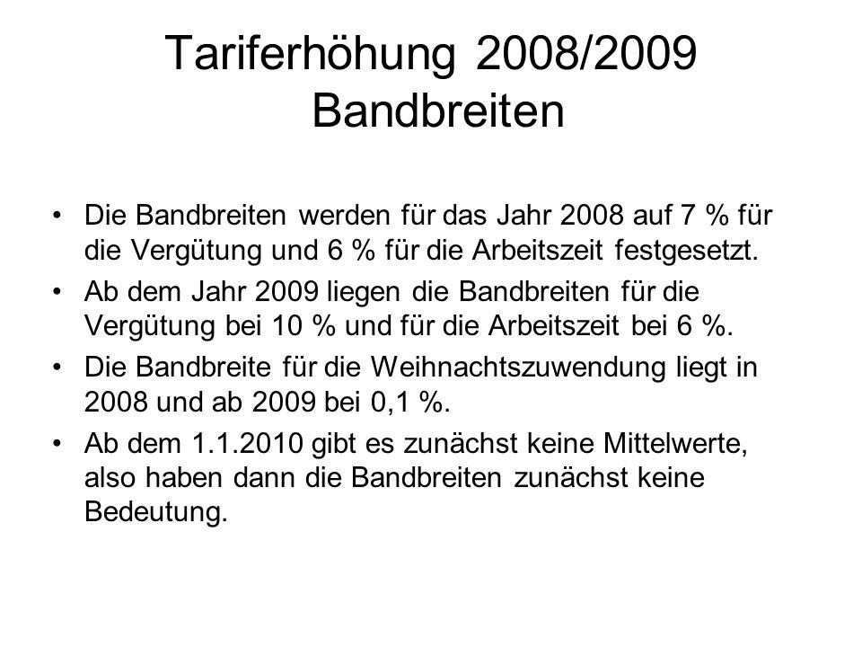 Tariferhöhung 2008/2009 Bandbreiten Die Bandbreiten werden für das Jahr 2008 auf 7 % für die Vergütung und 6 % für die Arbeitszeit festgesetzt. Ab dem
