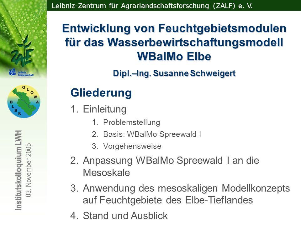 Leibniz-Zentrum für Agrarlandschaftsforschung (ZALF) e. V. Institutskolloquium LWH 03. November 2005 Dipl.–Ing. Susanne Schweigert Entwicklung von Feu