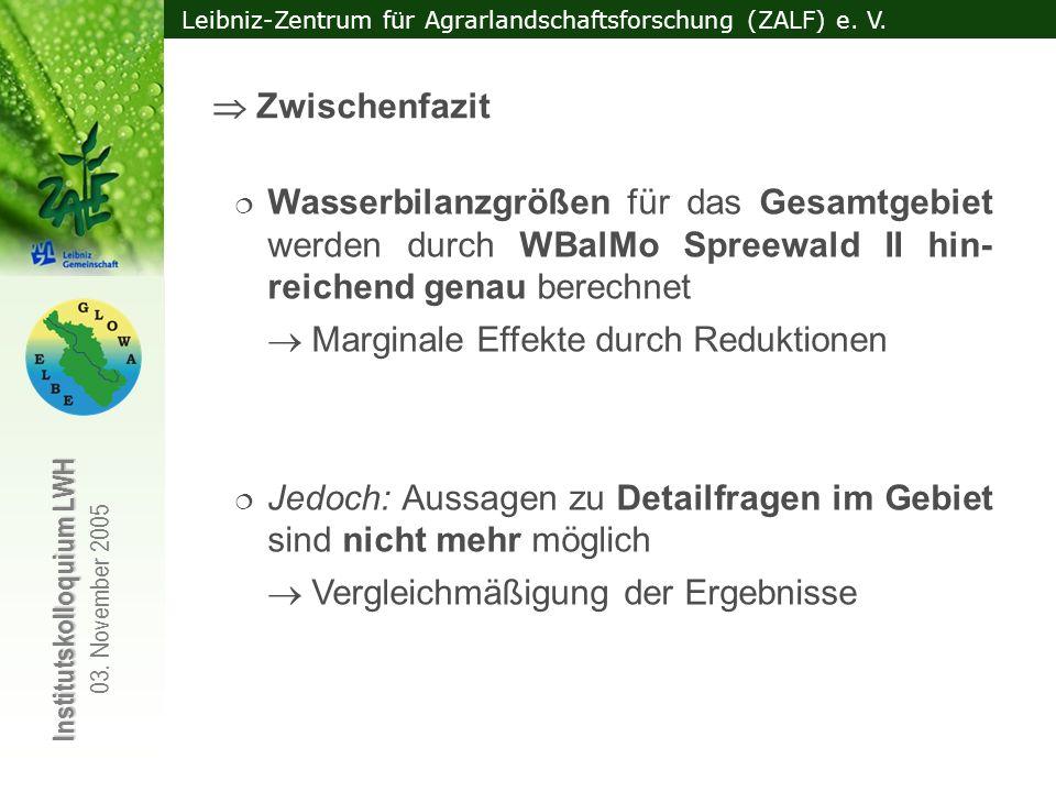 Leibniz-Zentrum für Agrarlandschaftsforschung (ZALF) e. V. Institutskolloquium LWH 03. November 2005 Wasserbilanzgrößen für das Gesamtgebiet werden du