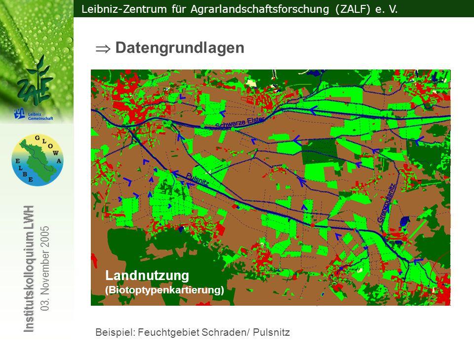 Leibniz-Zentrum für Agrarlandschaftsforschung (ZALF) e. V. Institutskolloquium LWH 03. November 2005 Vorausgewählte Feuchtgebiete Klassifizierte Fließ