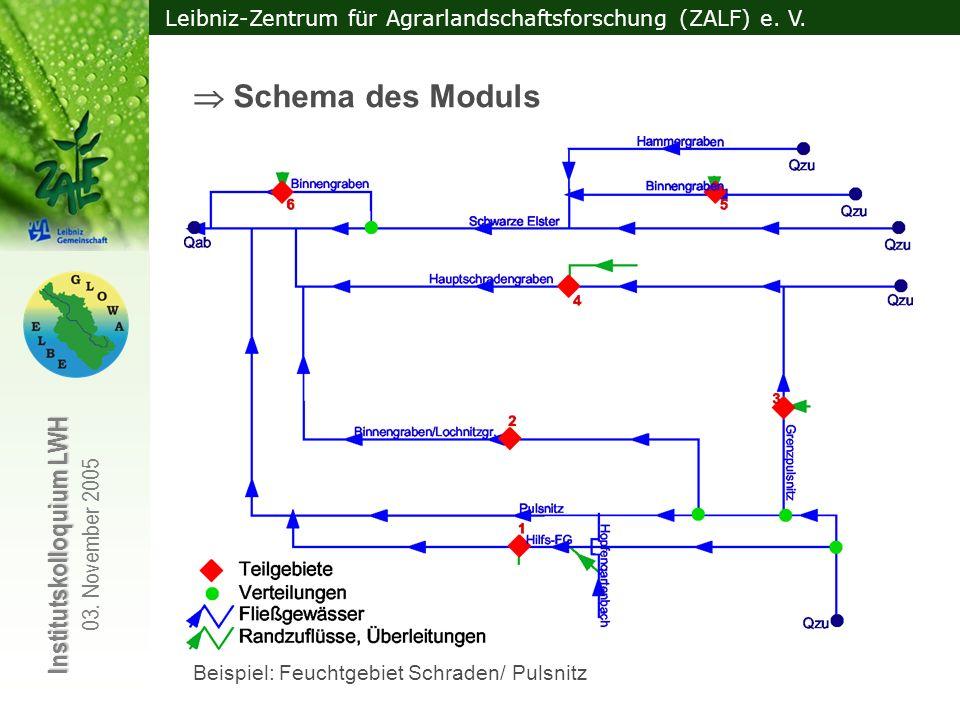 Leibniz-Zentrum für Agrarlandschaftsforschung (ZALF) e. V. Institutskolloquium LWH 03. November 2005 Schema des Moduls Beispiel: Feuchtgebiet Schraden
