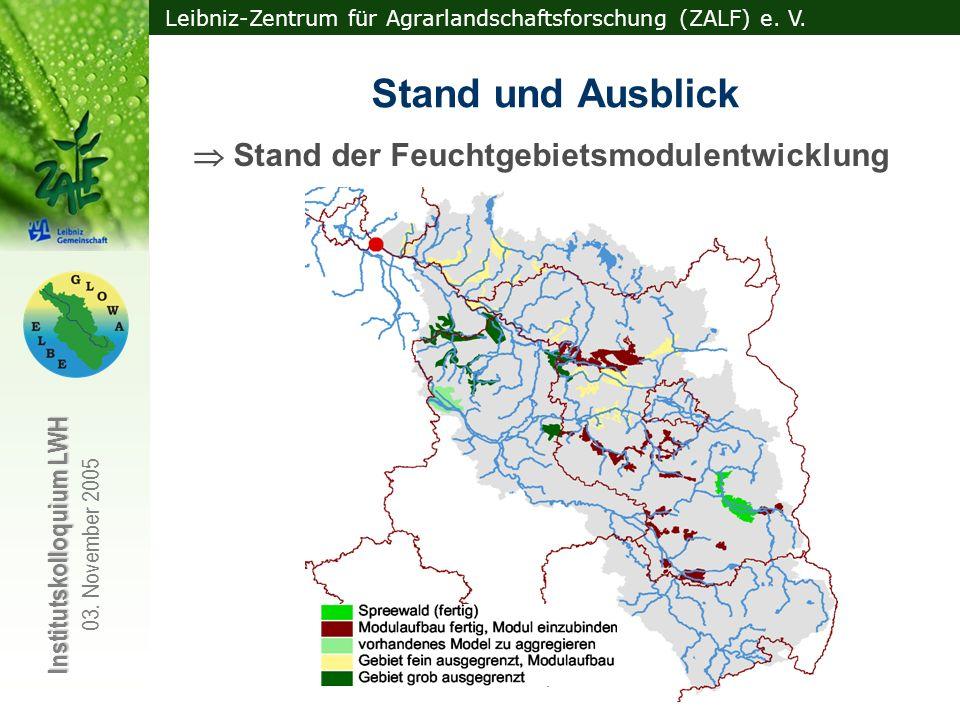 Leibniz-Zentrum für Agrarlandschaftsforschung (ZALF) e. V. Institutskolloquium LWH 03. November 2005 Stand und Ausblick Stand der Feuchtgebietsmodulen