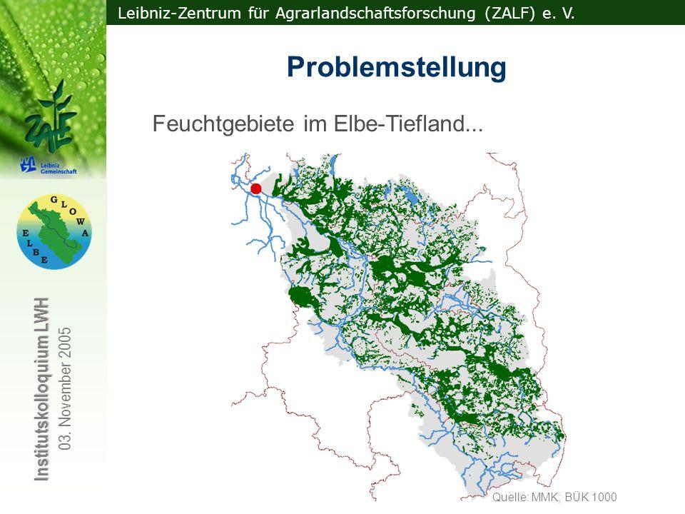 Leibniz-Zentrum für Agrarlandschaftsforschung (ZALF) e. V. Institutskolloquium LWH 03. November 2005 Feuchtgebiete im Elbe-Tiefland... spielen wegen i