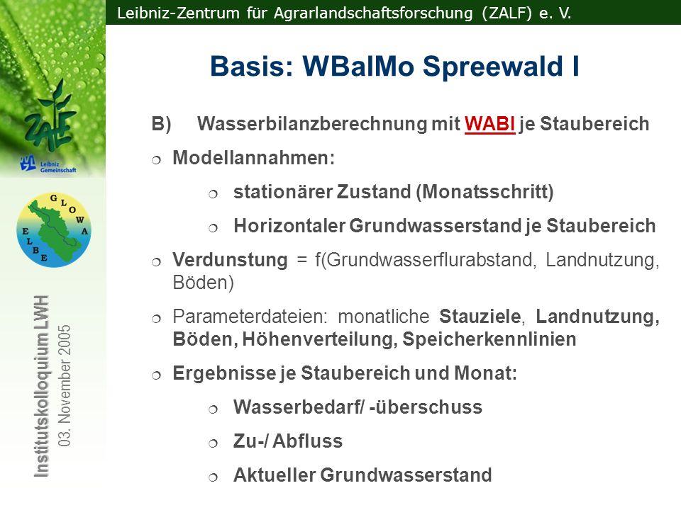 Leibniz-Zentrum für Agrarlandschaftsforschung (ZALF) e. V. Institutskolloquium LWH 03. November 2005 B) Wasserbilanzberechnung mit WABI je Staubereich