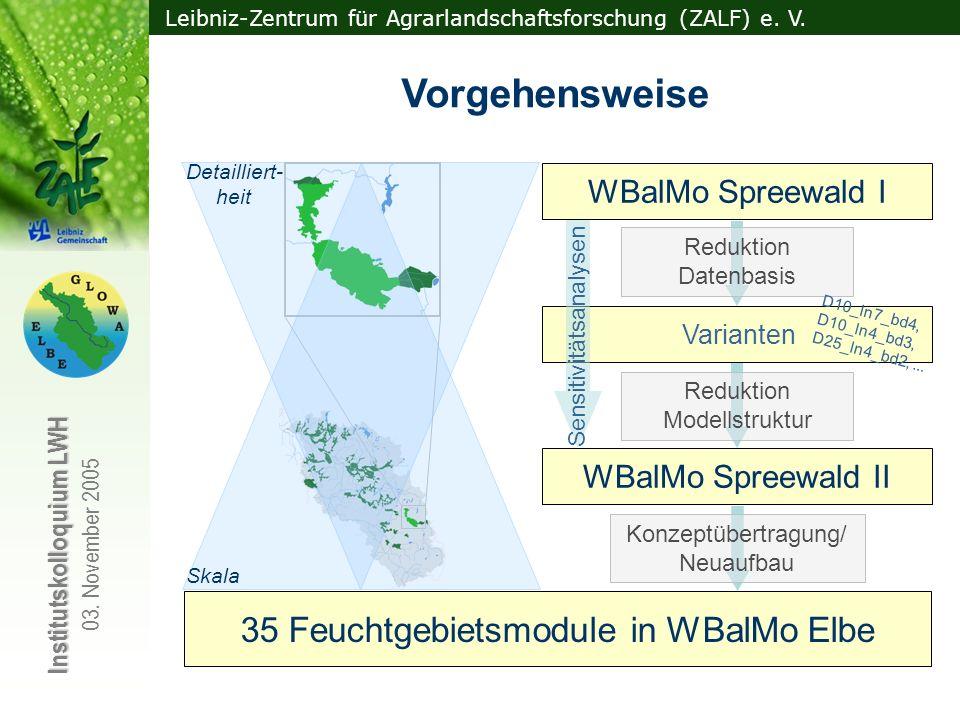 Leibniz-Zentrum für Agrarlandschaftsforschung (ZALF) e. V. Institutskolloquium LWH 03. November 2005 Skala Detailliert- heit 35 Feuchtgebietsmodule in
