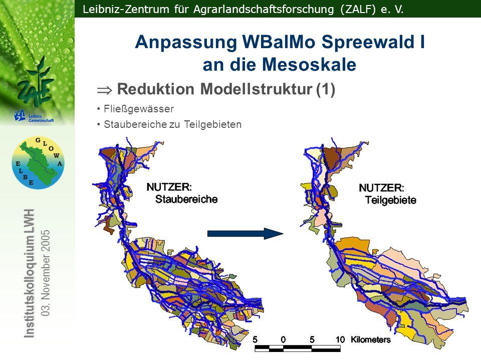 Leibniz-Zentrum für Agrarlandschaftsforschung (ZALF) e. V. Institutskolloquium LWH 03. November 2005 Anpassung WBalMo Spreewald I an die Mesoskale Red