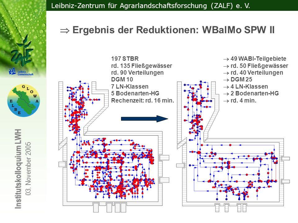 Leibniz-Zentrum für Agrarlandschaftsforschung (ZALF) e. V. Institutskolloquium LWH 03. November 2005 197 STBR 49 WABI-Teilgebiete rd. 135 Fließgewässe