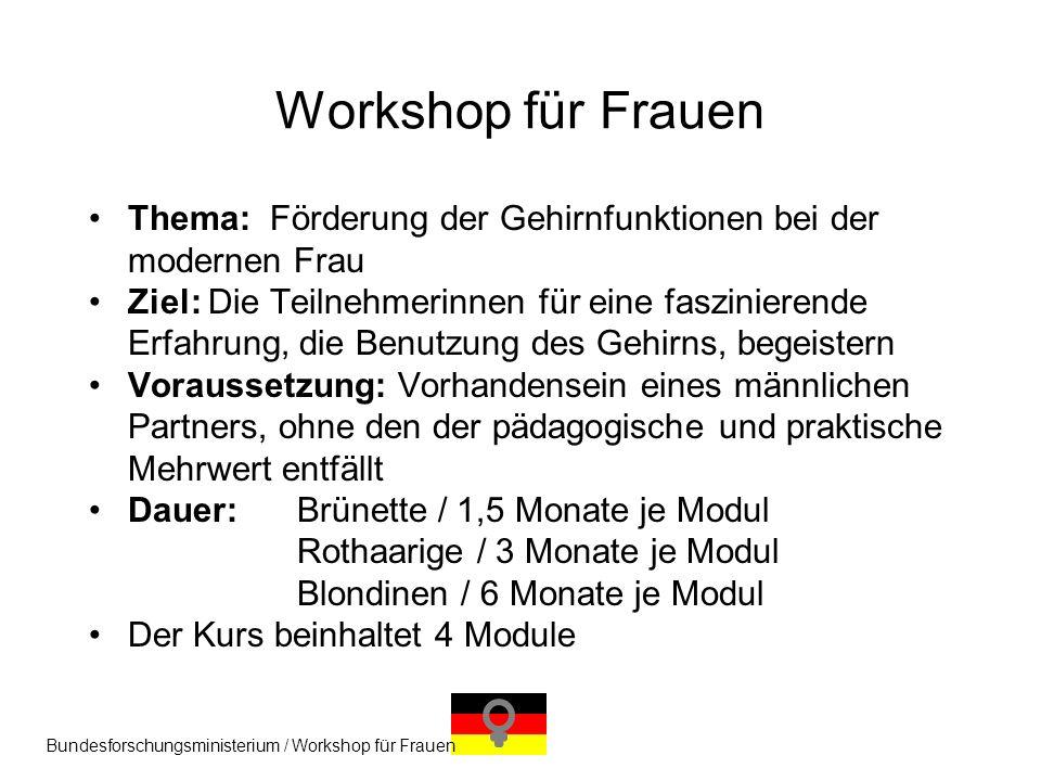 Workshop für Frauen Thema: Förderung der Gehirnfunktionen bei der modernen Frau Ziel: Die Teilnehmerinnen für eine faszinierende Erfahrung, die Benutz