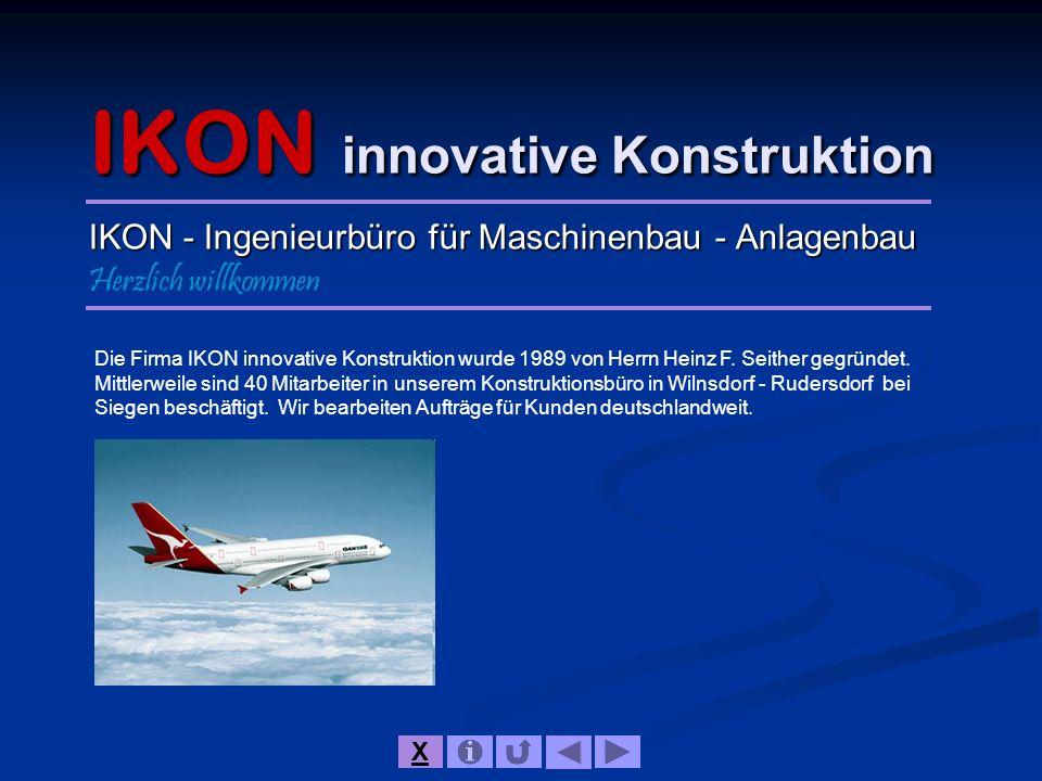 IKON innovative Konstruktion IKON - Ingenieurbüro für Maschinenbau - Anlagenbau Herzlich willkommen Die Firma IKON innovative Konstruktion wurde 1989