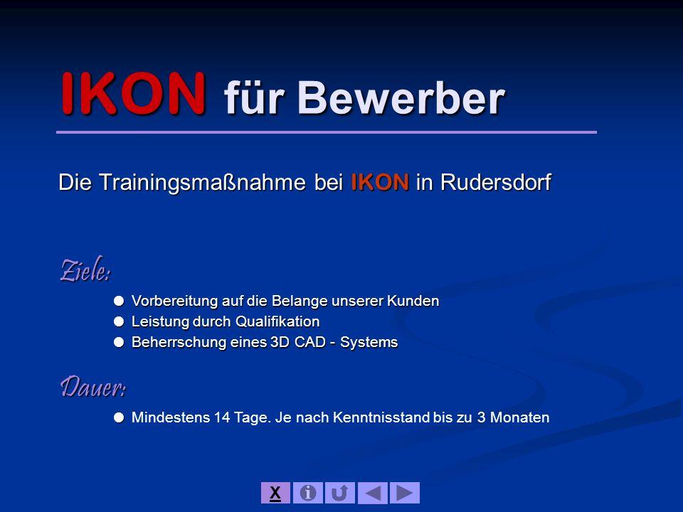 IKON für Bewerber Die Trainingsmaßnahme bei IKON in Rudersdorf Ziele: Vorbereitung auf die Belange unserer Kunden Vorbereitung auf die Belange unserer