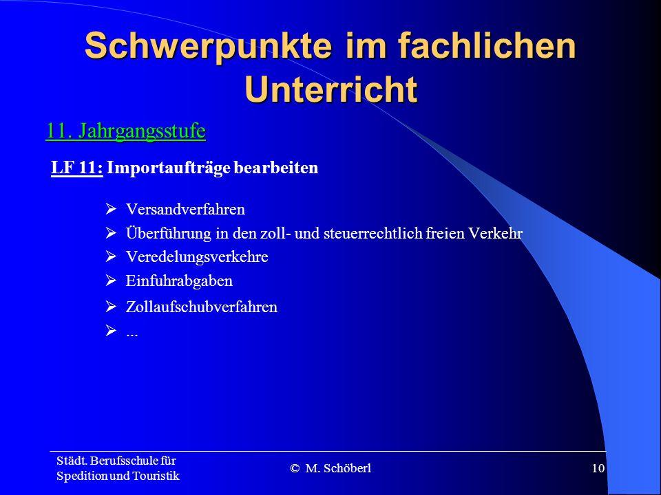 Städt. Berufsschule für Spedition und Touristik © M. Schöberl9 Schwerpunkte im fachlichen Unterricht 11. Jahrgangsstufe Wirtschaftszentren und Verkehr