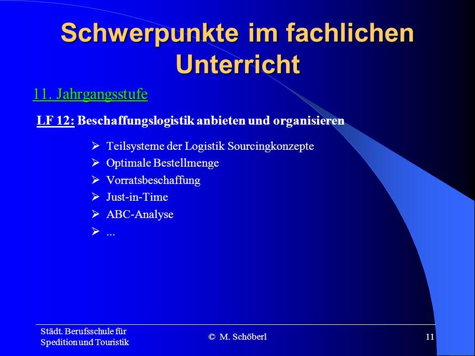 Städt. Berufsschule für Spedition und Touristik © M. Schöberl10 Schwerpunkte im fachlichen Unterricht 11. Jahrgangsstufe Versandverfahren Überführung