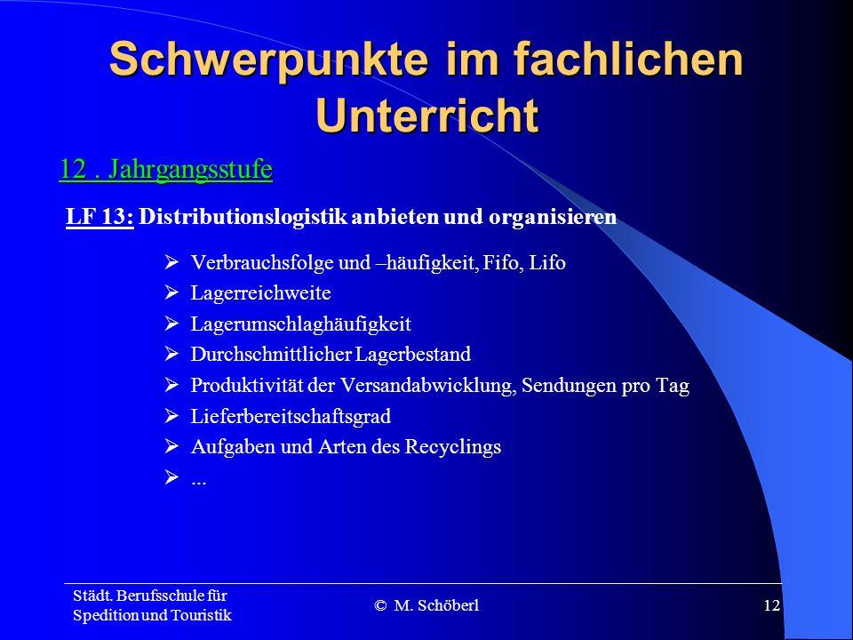 Städt. Berufsschule für Spedition und Touristik © M. Schöberl11 Schwerpunkte im fachlichen Unterricht 11. Jahrgangsstufe Teilsysteme der Logistik Sour